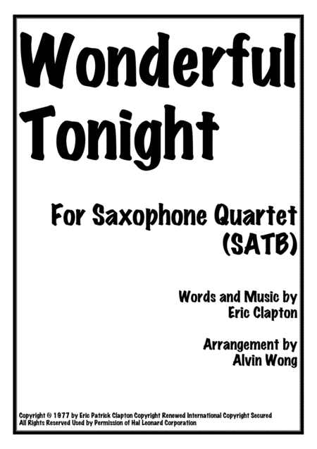Wonderful Tonight - Saxophone Quartet