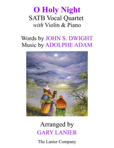 O HOLY NIGHT (SATB Vocal Quartet with Violin & Piano - Score & Parts included)