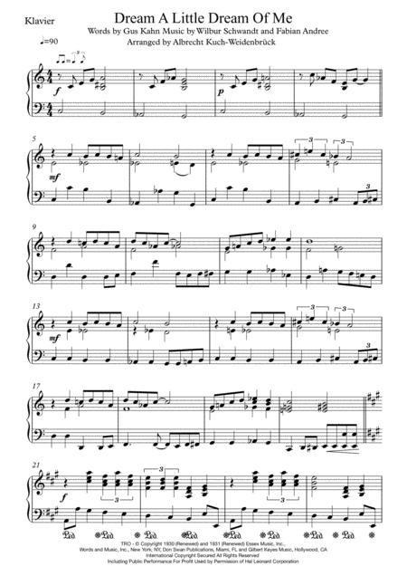 Dream A Little Dream Of Me - Piano Solo