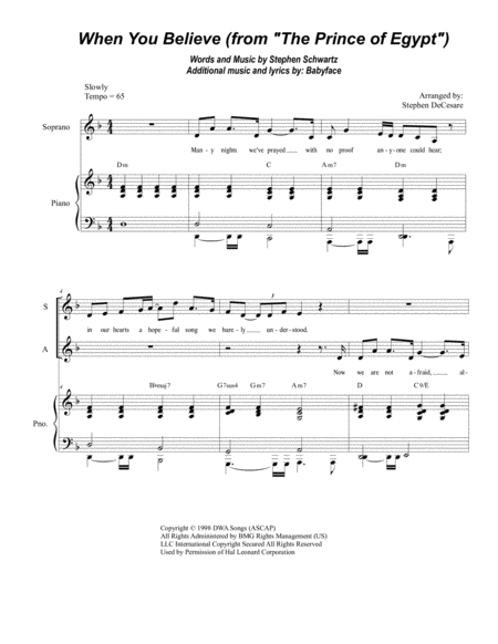 When You Believe (From The Prince Of Egypt) (Duet for Soprano and Alto solo)