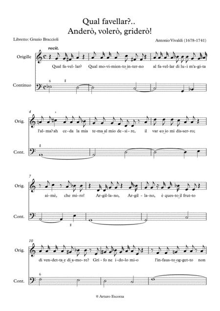 Quel favellar? Andero', volero', gridero' - Antonio Vivaldi