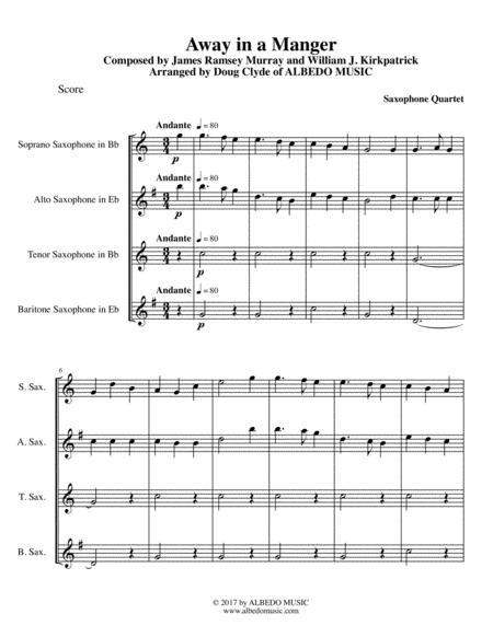 Away in a Manger for Saxophone Quartet