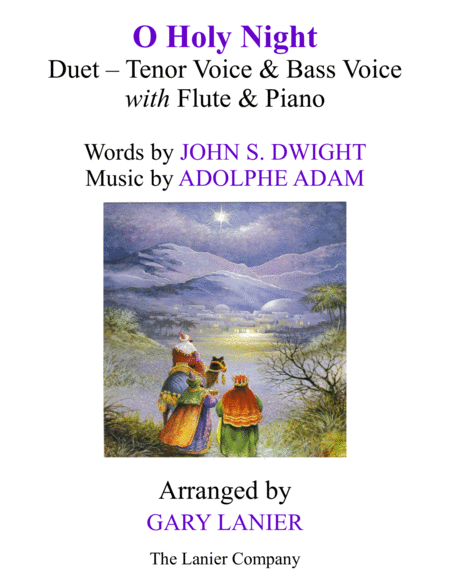 O HOLY NIGHT (Duet - Tenor, Bass with Flute & Piano - Score & Parts included)