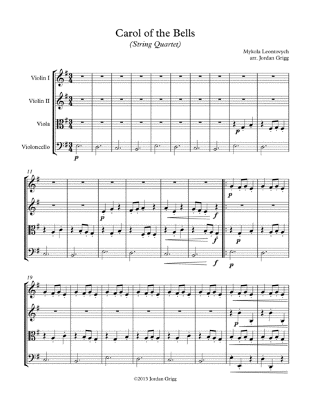 Carol of the Bells (String Quartet) - Score and parts