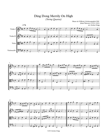 Ding Dong Merrily On High (String Quartet) - Score and parts