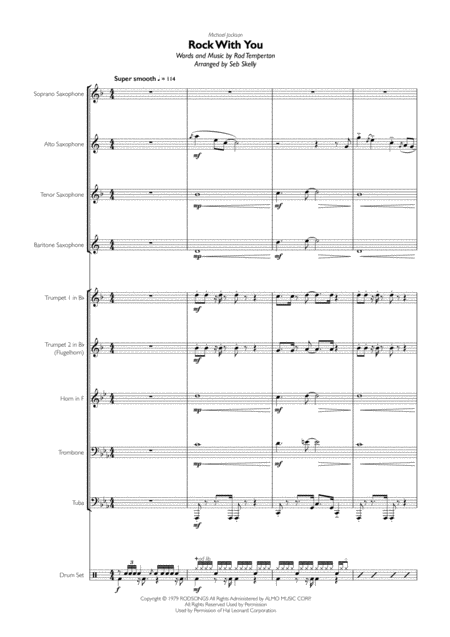 Michael Jackson - Rock With You for Brass Quintet, Sax Quartet & Drums