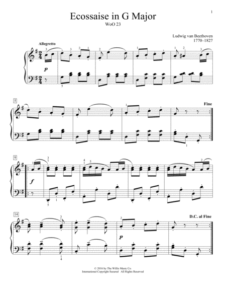 Ecossaise In G Major, WoO 23