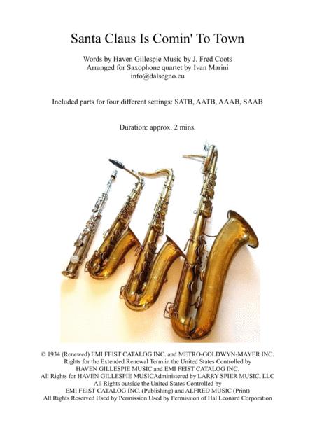 Santa Claus Is Comin' To Town - Saxophone Quartet