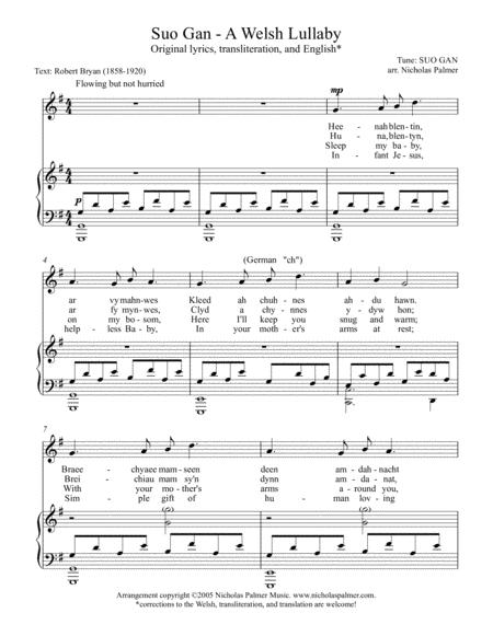 Suo gan/Welsh lullaby - original and Christmas lyrics - high voice
