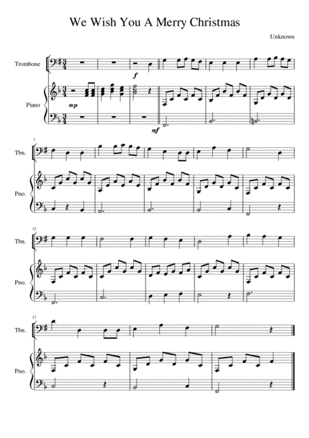 We Wish You A Merry Christmas - Trombone (bass clef)