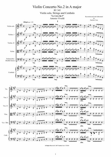 Vivaldi - Violin Concerto No.2 in A major RV 345 for Violin, Strings and Cembalo