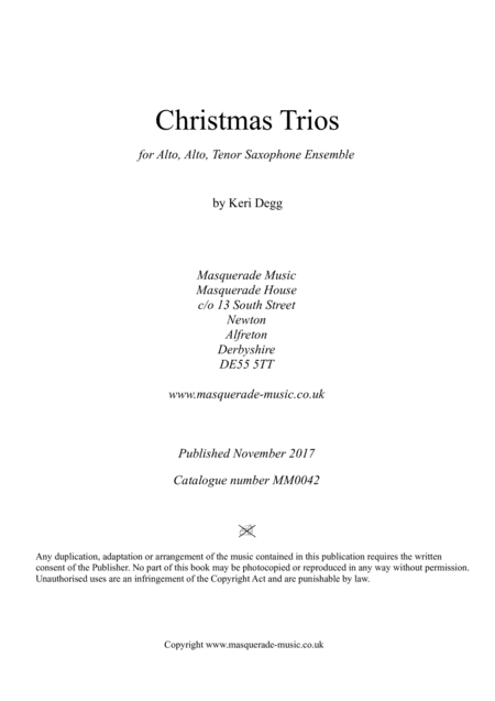 Christmas Trios For AAT Saxophones; 7 Festive Favourites