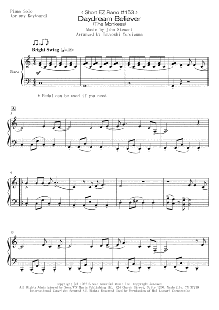 < Short EZ Piano #153 > Daydream Believer (The Monkees)