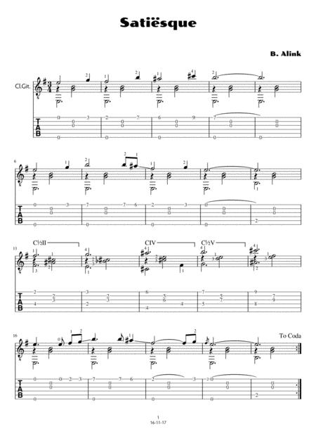 Satiësque (std. notation and tab)