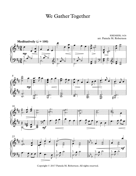 We Gather Together - Piano Solo