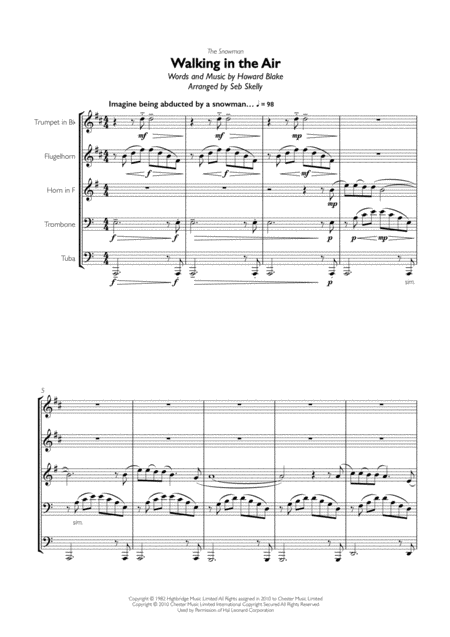 Walking In The Air (from The Snowman) for Brass Quintet