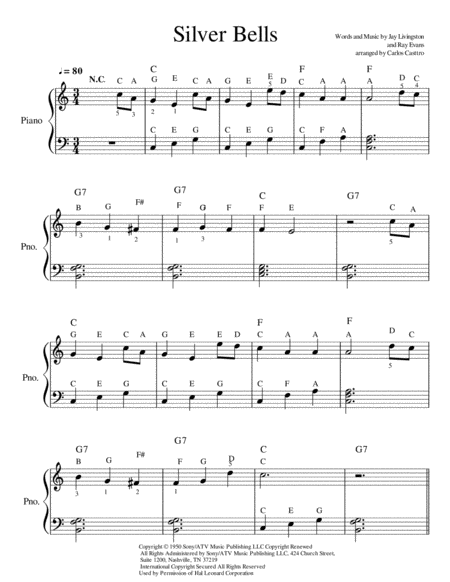 Silver Bells easy piano