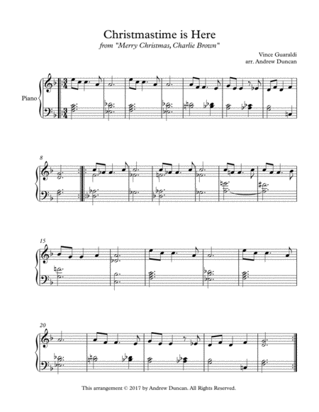 Christmas Time Is Here - Simple Piano Solo