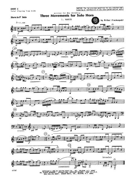 Three Movements For Solo Horn