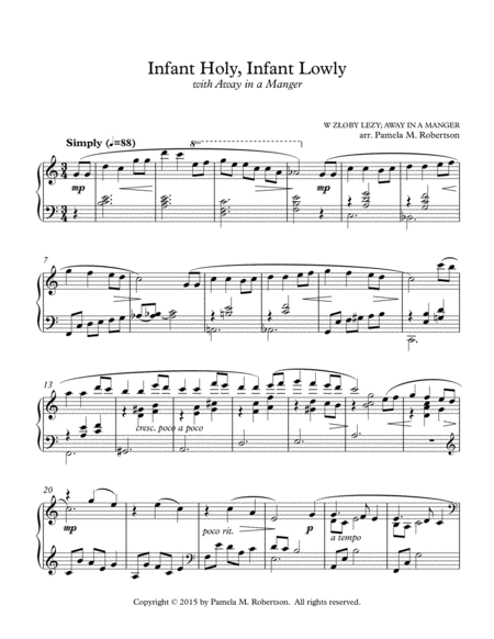 Infant Holy, Infant Lowly with Away in a Manger - Piano Solo