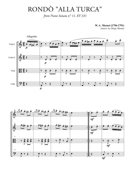 Rondò alla Turca (Turkish March) for String Quartet