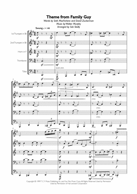 Theme From Family Guy for Brass Quintet