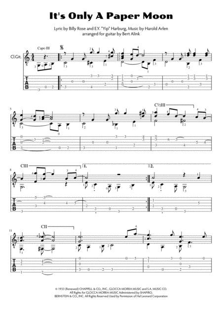 It's Only A Paper Moon (std. notation and tablature)