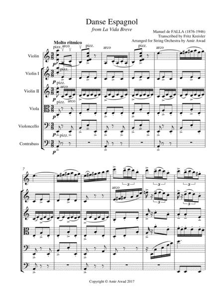 Manuel De Falla Spanish Dance (La Vida breve) arranged for solo violin and string Orchestra , Violin by Kreisler