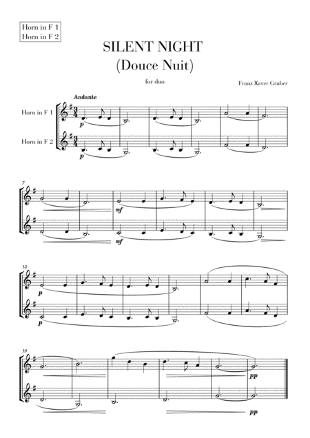 Silent Night (Douce Nuit) for French Horn duet