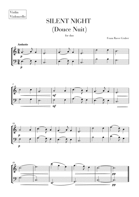 Silent Night (Douce Nuit) for Violin and Violoncello (String duet)