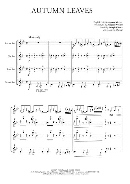 Autumn Leaves for Saxophone Quartet