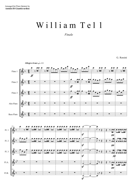 WILLIAM TELL - Overture (Finale) for Flute Quintet/Choir