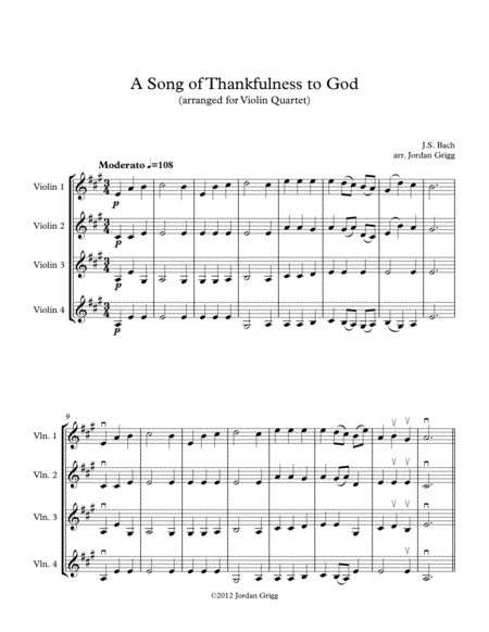 A Song of Thankfulness to God (arranged for Violin Quartet)