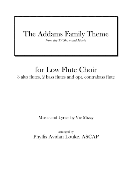 The Addams Family Theme for LOW FLUTE ENSEMBLE