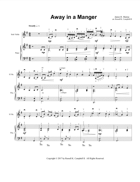 Away in a Manger (Violin and Piano Duet)