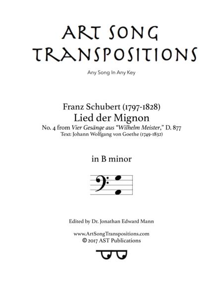 Lied der Mignon, D. 877 (B minor, bass clef)