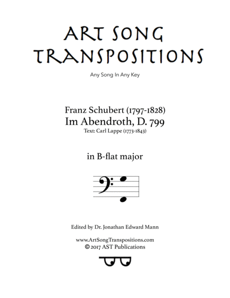 Im Abendroth, D. 799 (B-flat major, bass clef)