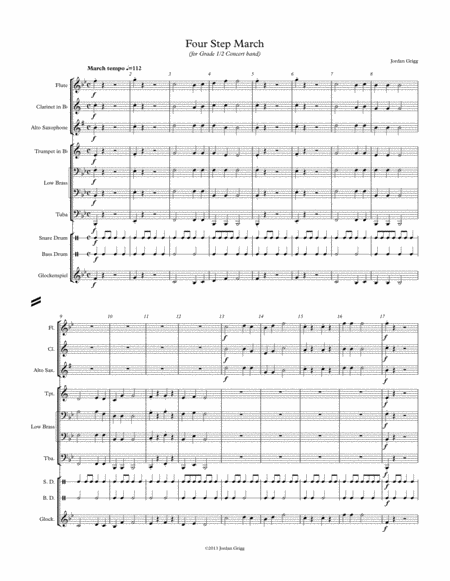 Four Step March (for Grade 1/2 Concert band)