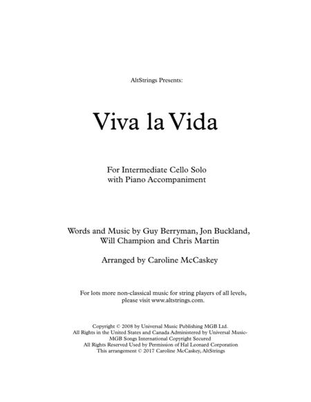 Viva La Vida - Cello Solo with Piano Accompaniment