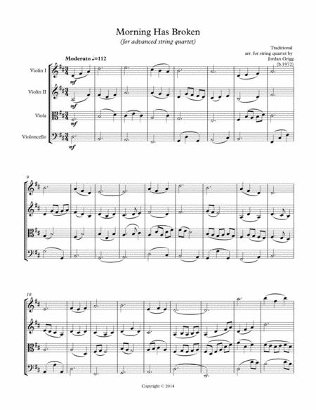 Morning has Broken (advanced string quartet)