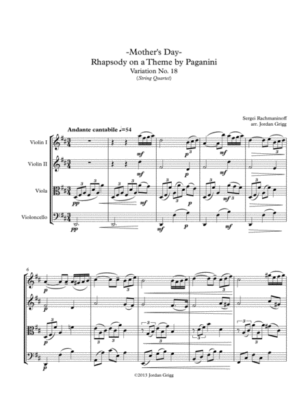 Mother's Day-Rhapsody on a Theme by Paganini Variation No.18 (String Quartet)