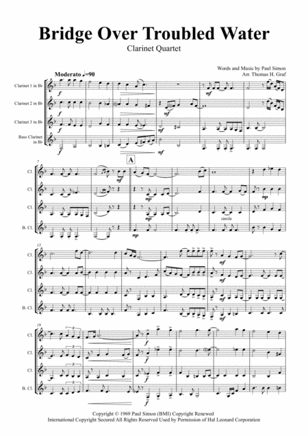 Bridge Over Troubled Water - Simon&Garfunkel - Clarinet Quartet