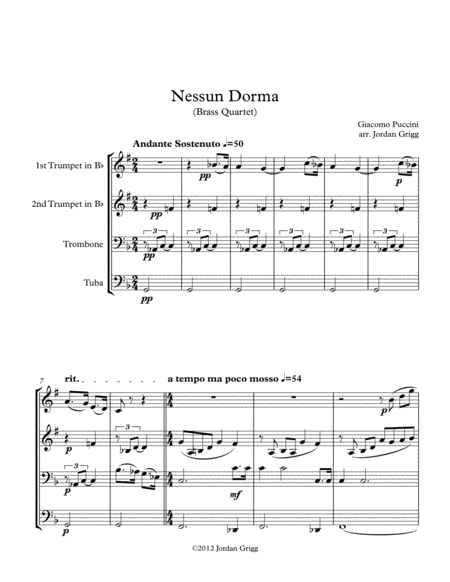 Nessun Dorma (Brass Quartet)