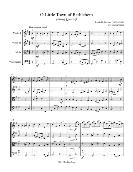 O Little Town of Bethlehem (String Quartet)