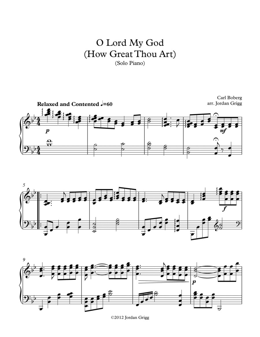 O Lord My God (How Great Thou Art) – Solo Piano