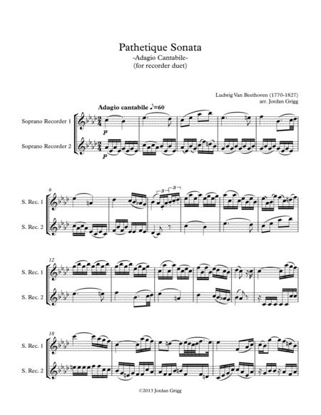 Pathetique Sonata. Adagio Cantabile (for recorder duet)