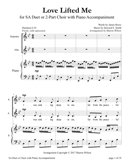 Love Lifted Me (for SA Choir with Piano accompaniment)