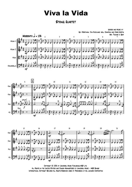 Viva la Vida - E-Minor - Cold Play - String Quartet