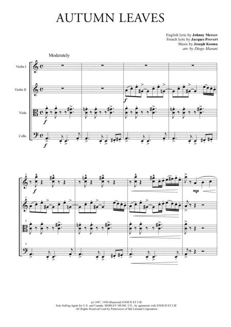 Autumn Leaves for String Quartet