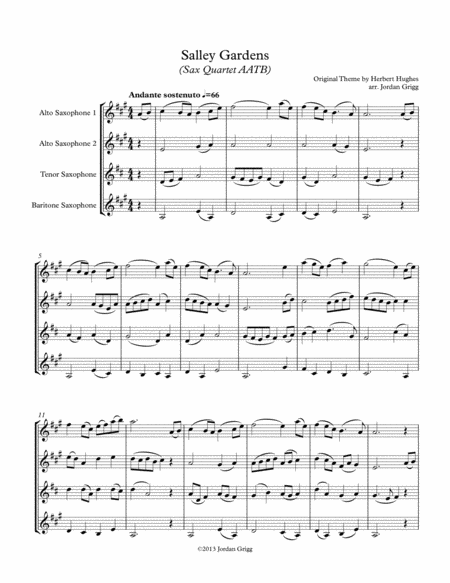 Salley Gardens (Sax Quartet AATB)